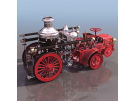 Steam coach 3d model preview