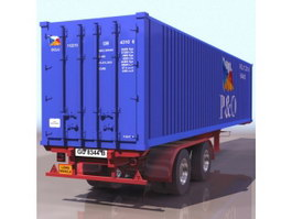 Container trailer 3d model preview