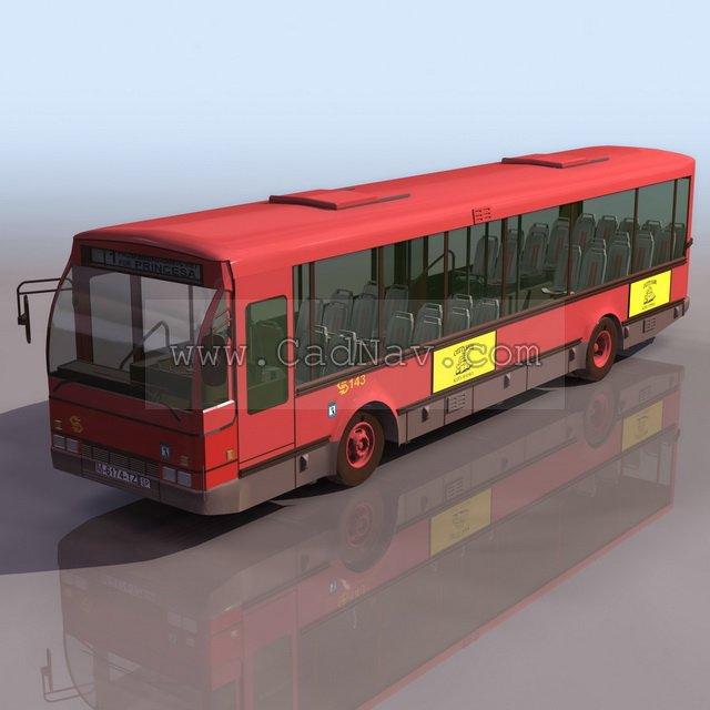 Long-distance bus 3d rendering