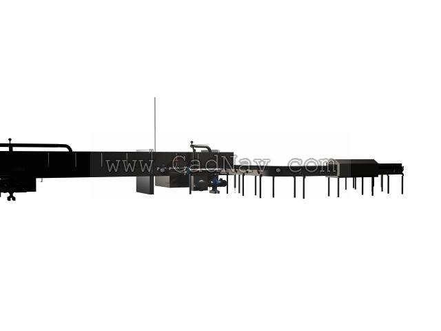 Panel production line 3d rendering