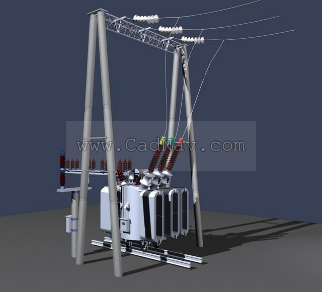 Overhead high voltage line transformer 3d rendering