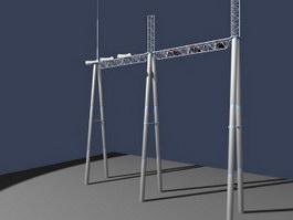 Transmission pole 3d model preview