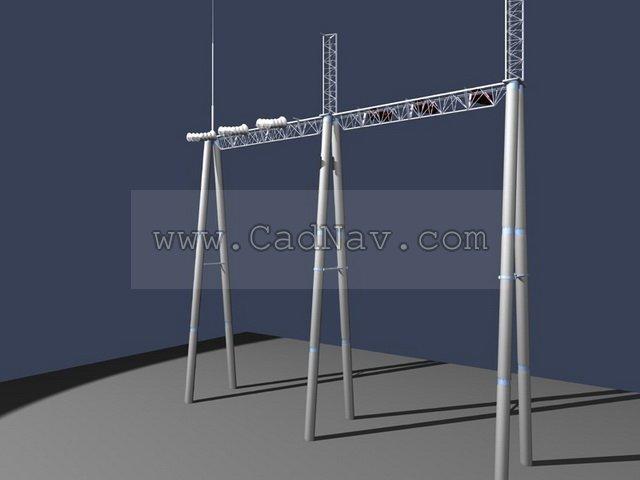 Transmission pole 3d rendering