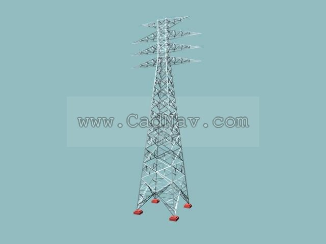 Power transmission tower 3d rendering