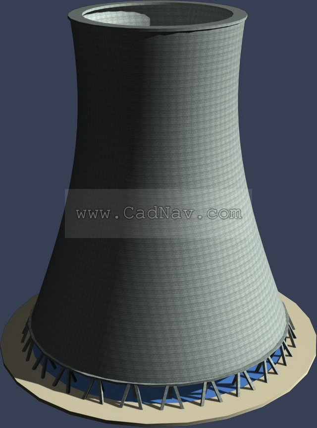 Thermal power plant rotary kiln 3d rendering