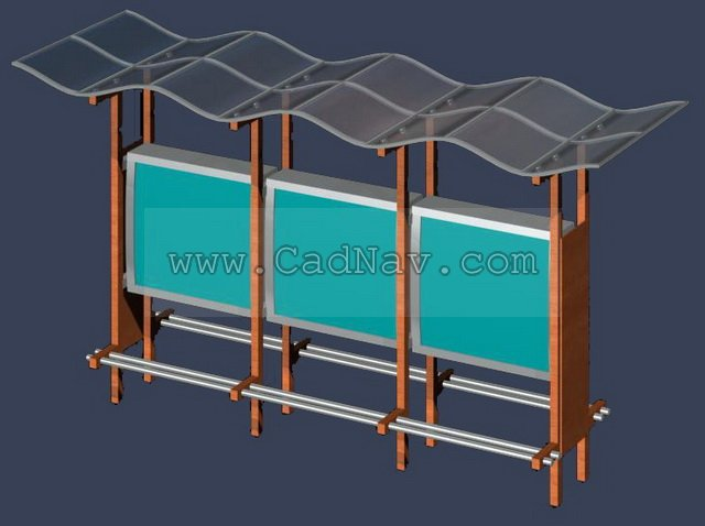 Bus stop shelter advertising 3d rendering