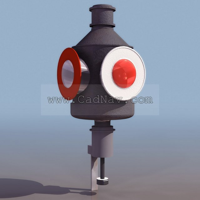 Railway traffic signal 3d rendering