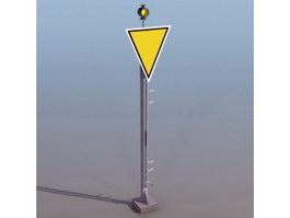 Railway caution sign 3d preview