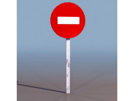 No entry sign 3d preview