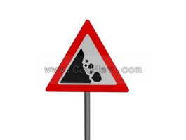 Falling Rocks traffic signs 3d preview