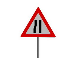Road Narrows on Left traffic signs 3d preview