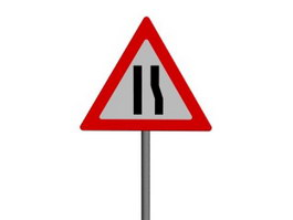 Road Narrows on Right traffic signs 3d preview