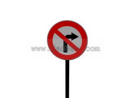 No right turn traffic signs 3d preview