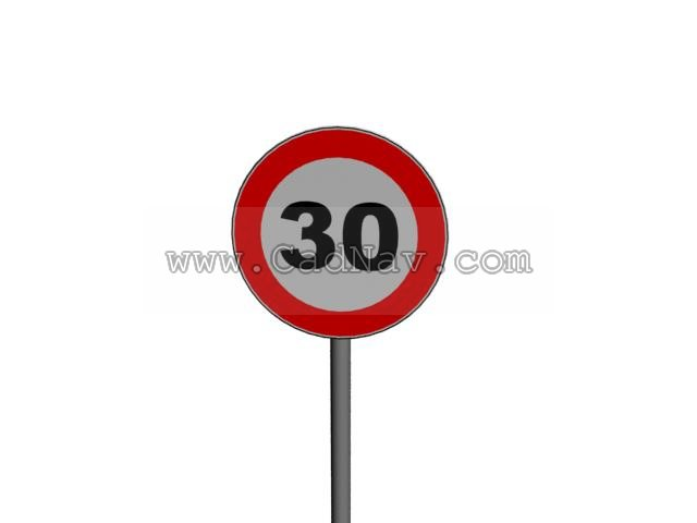 30kmh Speed limit traffic signs 3d rendering