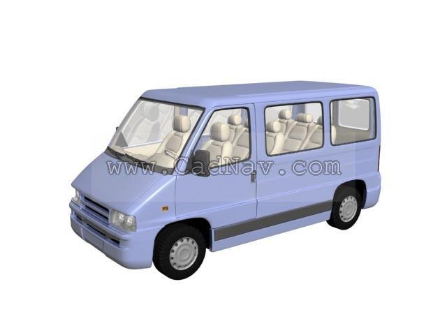 Microbus van 3d rendering