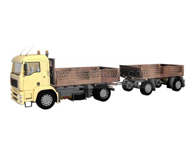 Dump Truck Trailer 3d rendering