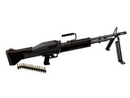 M60 Light machine gun 3d model preview