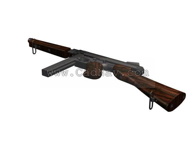 Thompson submachine gun 3d rendering