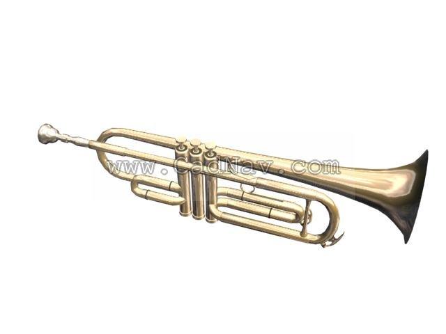 Solo Trumpet 3d rendering
