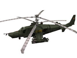 Hokum KA50 Attack Helicopter 3d model preview
