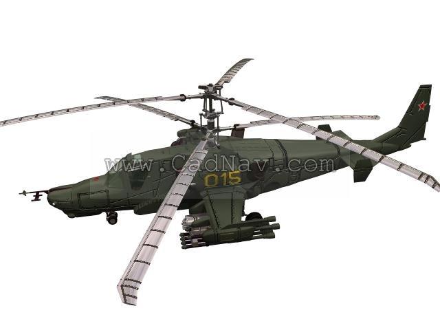Hokum KA50 Attack Helicopter 3d rendering