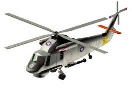 SH-2F Seasprite Anti-submarine warfare helicopter 3d model preview