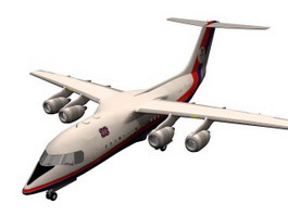 BAe 146 jumbo jet 3d model preview