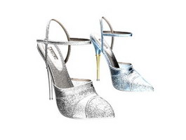 Women Fashion Crystal High Heel Shoes 3d preview