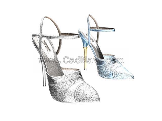Women Fashion Crystal High Heel Shoes 3d rendering
