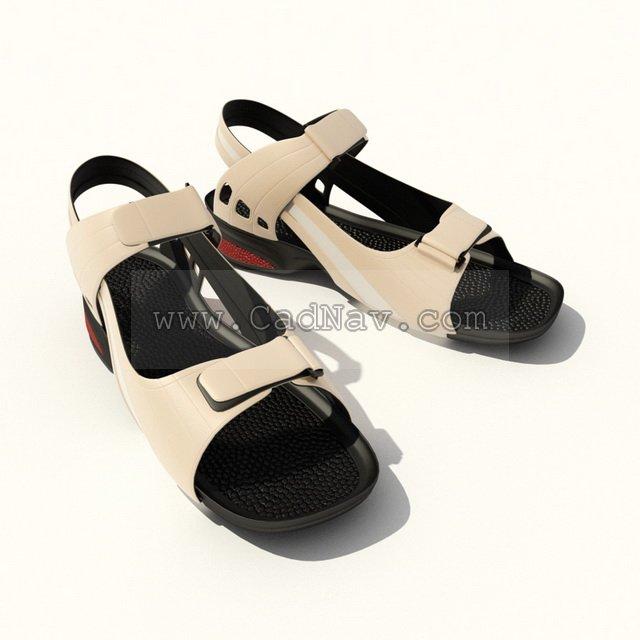 Summer Mens leather Sandal Shoes 3d rendering