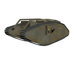 British Mark V Female Tank 3d model preview