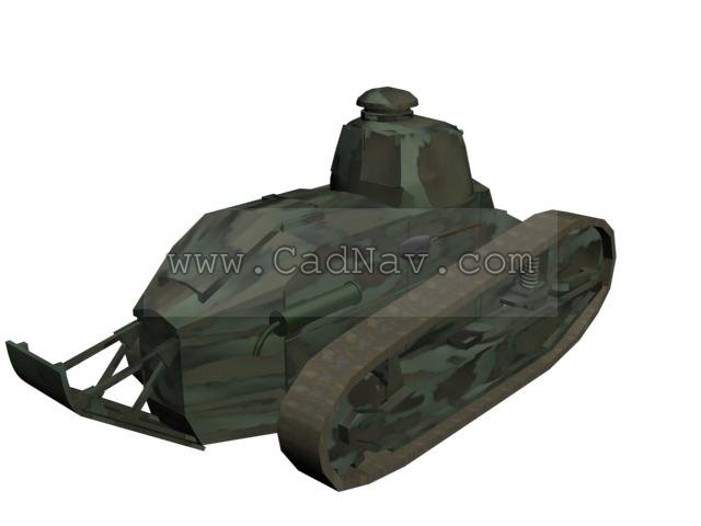 French Renault FT17 light tank 3d rendering