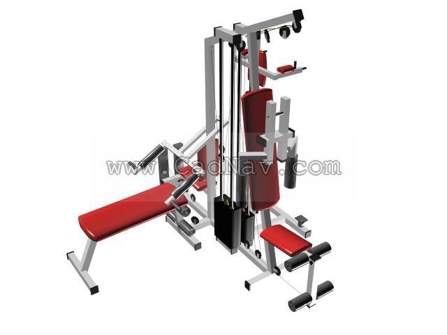 Multi-functional gym equipment 3d rendering