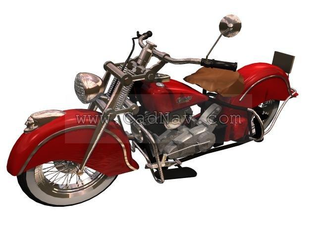 Indian Chief Black Hawk motorcycle 3d rendering