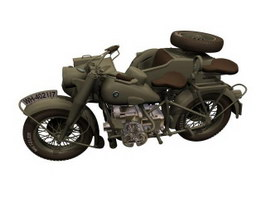 BMW R75 Motorcycle sidecar combination 3d preview