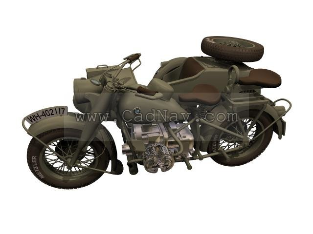 BMW R75 Motorcycle sidecar combination 3d rendering