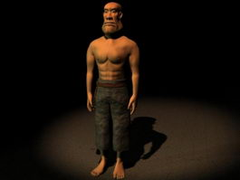 Cartoon game male character 3d model preview