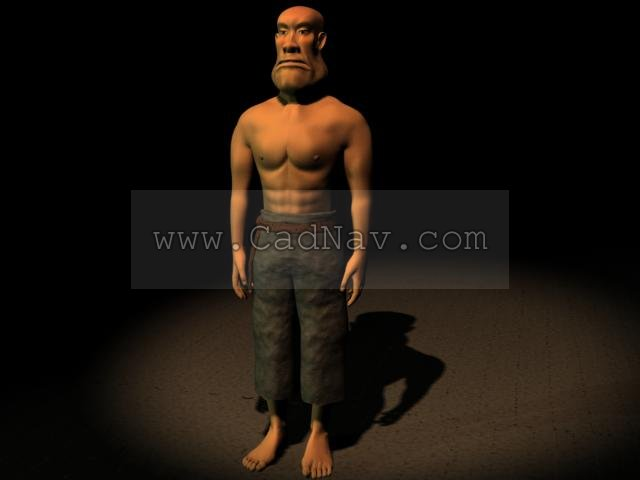 Cartoon game male character 3d rendering
