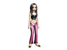 Cartoon Game Female Character 3d preview