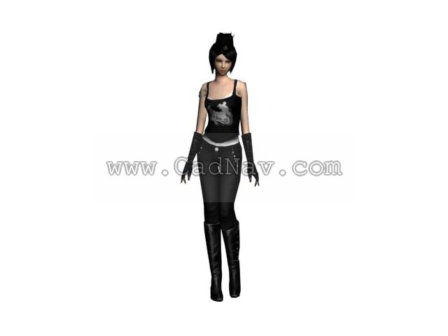 Sexy babe Game Character 3d rendering