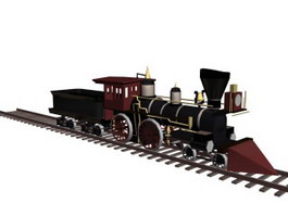 Old-fashioned train 3d preview