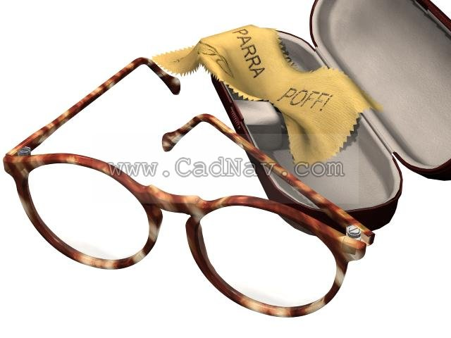Glasses and spectacle case 3d rendering