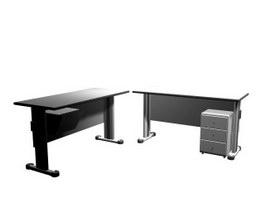 Steel Office desk 3d model preview