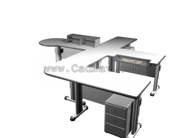 4 person office desk workstation 3d rendering