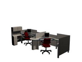 Office Partitions Computer Desks 3d model preview