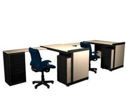 2 people office workstation desk 3d model preview