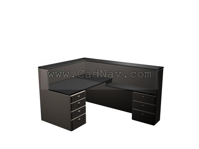 Office Partitions desk 3d rendering