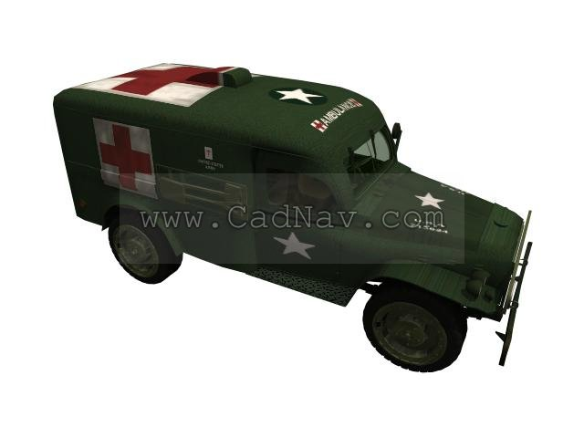 Army field ambulance 3d rendering