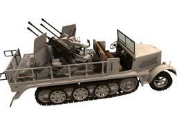 Sd.Kfz.7 Half-track artillery tractor 3d model preview