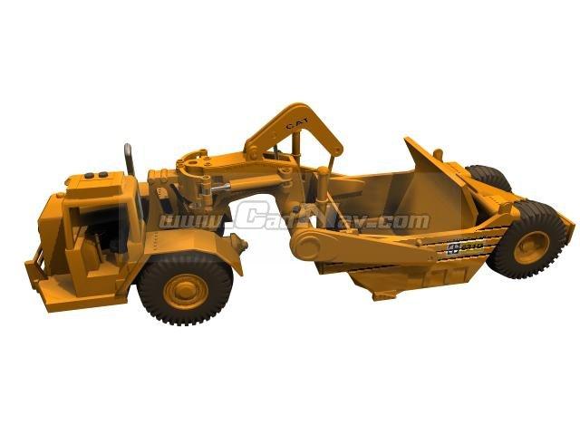 Towed scraper trailer-type scraper 3d rendering